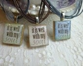 Christian Jewelry It Is Well With My Soul Scrabble Tile Pendant Necklace