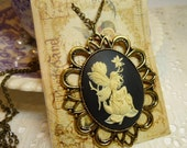 Cream on Black  40 x 30mm Ornate Fairy Cameo Pendant Necklace in  Antique Gold