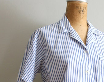 blue striped cotton Brooks Brothers shirt - ladies short sleeve blouse / 80s preppy camp shirt - blue & white stripes  / vintage prep