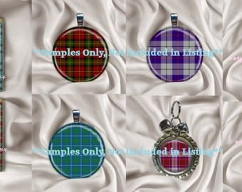 Sale CU 3 Size Tartan Plaid Digital Collage Scrabble Tile 27 MM - 1 1/16 Inch Fat Circles & Squares DIY Digital Image Sheet Instant Download
