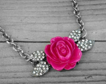Hot Pink Texas Rose Necklace Jeweled Diamond Rose Jewelry Silver Rose Necklace Floral Pink Flower Southern Country Girl Cowgirl Western