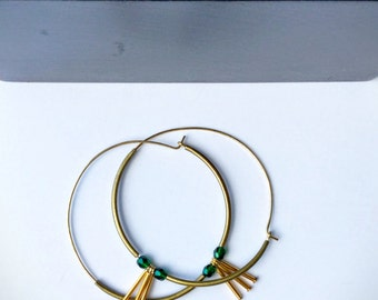 brass hoop earrings gold hoops brass hoops brass dangle earrings hoop earrings gold hoop earrings with beads | Rhiya hoop earrings large