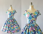 Vintage 50s Dress/ 1950s Cotton Dress/ Blue, Pink, Green Floral Print Cotton Dress w/ Open Shoulders XL