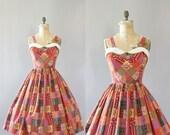 Vintage 50s Dress/ 1950s Cotton Dress/ Red & Purple Patchwork Print Cotton Dress w/ Collar L