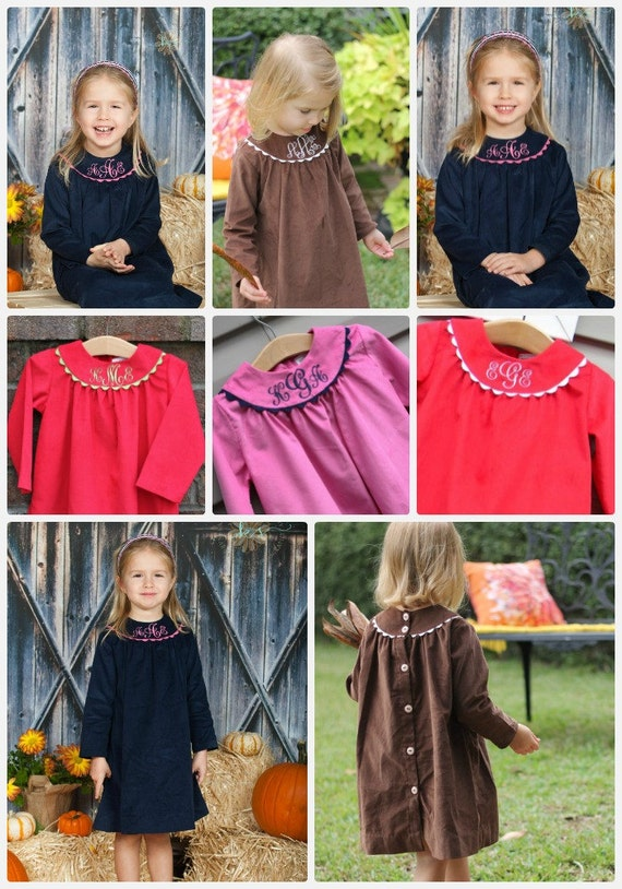 Girls Long-Sleeve Monogrammed Fall and Winter Dresses, Girls Fall Dress, Girls Corduroy Dress, Monogrammed Dresses, Choose Fabric and Trim
