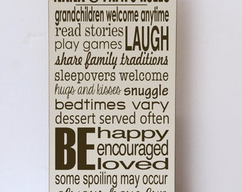 Nana and Papa  Rules, Wood Sign, Gifts for Grandparents, Nana and Papa Sign, Nana and Papa Gift, Grandparent Rules, Rules of Nana and Papa