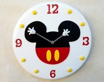 Mickey Mouse Wall Clock, Mickey Mouse, Mickey Mouse Clock, Disney Clock, Disney Wall Clock, Mickey Wall Clock, Mickey Mouse Ears Clock,