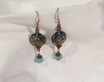 Earrings - Dangle Pierced - Oval Lamp  Glass Bead - Teal Sea Glass Accents - Copper beads - Copper detailed fish hook wires