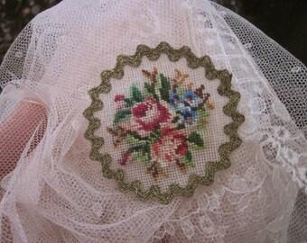"""Antique Floral Petit (Petite) Point. Tiny. Metallic Thread Ric-Rac Trim. Red & Pink Roses. Diameter 2"""""""