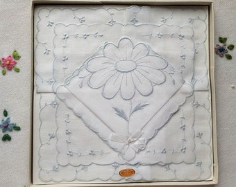 Pretty Vintage Hankies. Swiss Cotton. In Box. Never Used. Crisp White. Pale Blue Embroidery. Wedding.