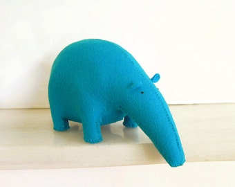 Plush doll, stuffed animal Tapir made with blue wool felt · Decorative soft toy · Kids room décor · Home decor