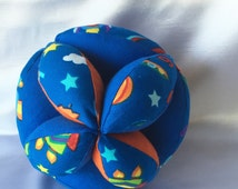 Blue Rockets & Space Amish Puzzle Ball – Easy Clutch Ball - Baby Grab Ball - A Great Toy for Babies, Toddlers and Up. Simple and basic toys
