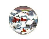 Art Plate by Betsey Bates / Christmas Morning / World Book Annual Christmas Plate / Signed / c1980