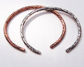 Sterling Silver and Copper Boho Distressed Textured Unisex Bracelets, Set of Two, Size Large