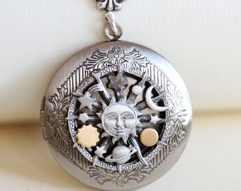 Locket Necklace,Sun and Moon Locket,Jewelry,Necklace,Pendant,Antique Locket,Silver Locket,Woodland,Sun and Moon Necklace