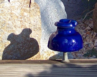 Vintage Cobalt Blue Porcelain Insulator Ohio Brass Glossy Blue Insulator Embossed On Crown 1930s