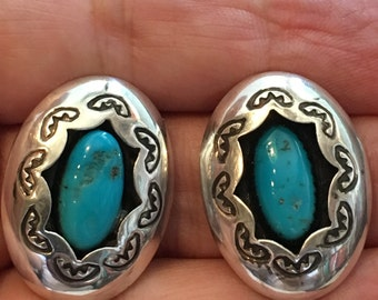 "TURQUOISE STERLING SILVER Native Americ 7 Gram 1 1/8"" Post Earrings"