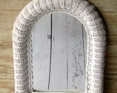 Vintage White Wicker Mirror MARKED DOWN 25%