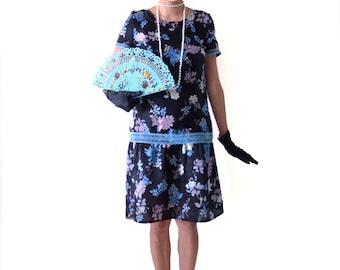 Retro Floral Flapper Dress, Great Gatsby Dress, Flapper Costume, 1920s Dress, 20s Dress, Roaring 20s Dress,Downton Abbey Dress, Black Blue