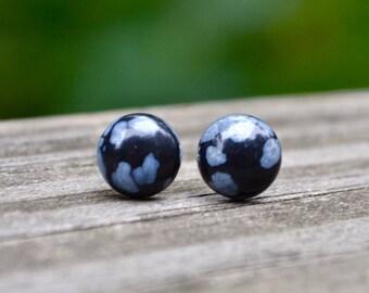 Small Snowflake Obsidian Gemstones . Studs . Earrings