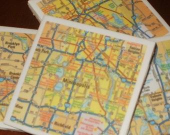 Minn/St Paul Road Map Coasters...Set of 4...Full Cork Bottoms...For Drinks or Candles