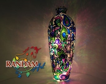 Stained Glass Mosaic Style Lamp. Bottle Light. Hand Painted.