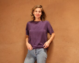 PURPLE prince vintage 80s 90s SLOUCHY SILK short sleeve blouse
