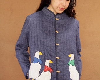 vintage QUILTED duck 60s navy blue jacket COAT