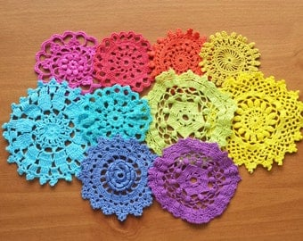 10 Rainbow Mix Hand Dyed Crochet Doilies, Small Craft Doilies, 2 to 4 inch Doilies, Crochet Mandala Medallions, ROYGBIV, Colorful Crafts