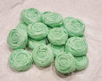 Mint paper flower roses - Set of 20