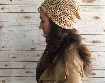 Sand Slouchy Beanie Hat, Fashion Accessories