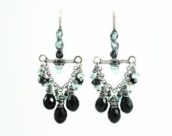 Unique christmas gift for wife her girlfriend | black dangle earrings | aqua silver chandelier earrings | aquamarine earrings | holiday gift
