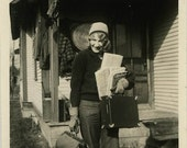 "Vintage Photo ""Traveling Writer"" Snapshot Antique Photo Black & White Photograph Found Paper Ephemera Vernacular - 182"