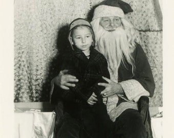 "Vintage Photo ""Visiting Santa Claus"" Christmas Boy Snapshot Antique Photo Old Black & White Photograph Found Paper Ephemera Vernacular - 86"