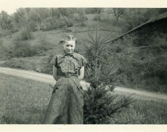 "Vintage Photo ""Joan and Her Favorite Tiny Tree"" Snapshot Antique Photo Old Black & White Photograph Found Paper Ephemera Vernacular - 14"