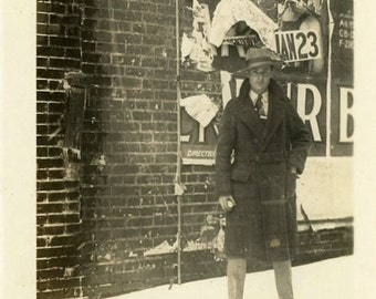 "Vintage Photo ""The January Messenger"" Men Poster Sign Ad Snapshot Photo Old Antique Black & White Photograph Found Paper Ephemera Vernacular"