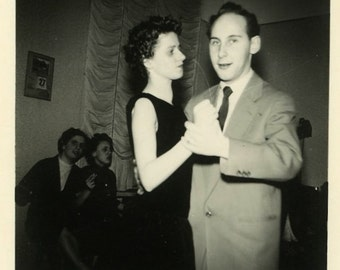 "Vintage Photo ""His Awkward Date"" Couple Dancing Men Snapshot Photo Old Antique Black & White Photograph Found Paper Ephemera Vernacular - 35"