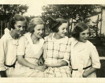 "Vintage Photo ""Teenage Giggles"" Snapshot Old Antique Photo Black & White Photograph Found Paper Ephemera Vernacular - 46"