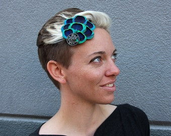 Bright Blue and Green Fan Fascinator, Vintage Button Accent