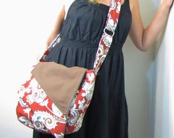 Red Upcycle Messenger Bag Napkin Slant