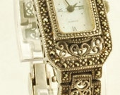 Boma quartz ladies wrist watch, Sterling silver case with gems, mother of pearl dial, with box