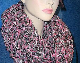 Infinity Scarf, Pink Crochet Infinity Scarf, Gray Infinity Scarf, Black Crochet Infinity Scarf, Crocheted Infinity Scarf, Pink Gray Scarf