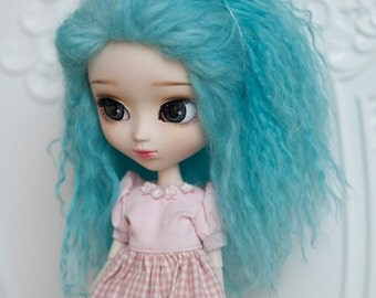 1/3 Size Cyan Blue Tibetan Mohair Wavy Wig for Volks BJD SD and Pullip Dolls