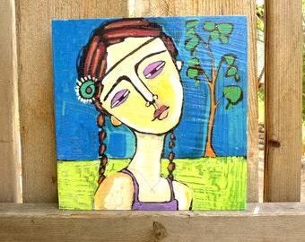 original acrylic painting of girl, figure painting, portrait, figurative, girl, folk art