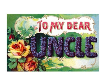 Dear Uncle Card | Vintage Style Greeting Card | Birthday Notecard | Thank You Card