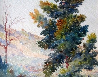 French Watercolour Early 20th Century Signed A.F. Quinet Mountains Around Grasse in Provence Giltwood Frame