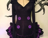 Gothic Hooded Dress - Purple & Black - Extra Long Sleeves - Ruffle Dress