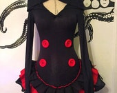 Gothic Hooded Dress - Red & Black - Extra Long Sleeves - Ruffle Dress