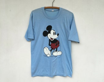 Vintage 80s Mickey Mouse Baby Blue T Shirt M