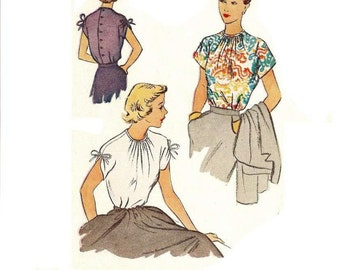 1940s Blouse Pattern, Gathered Neckline, Cap Sleeves, FF, Bust 34, Size 16, McCall 7813, Vintage Sewing Pattern